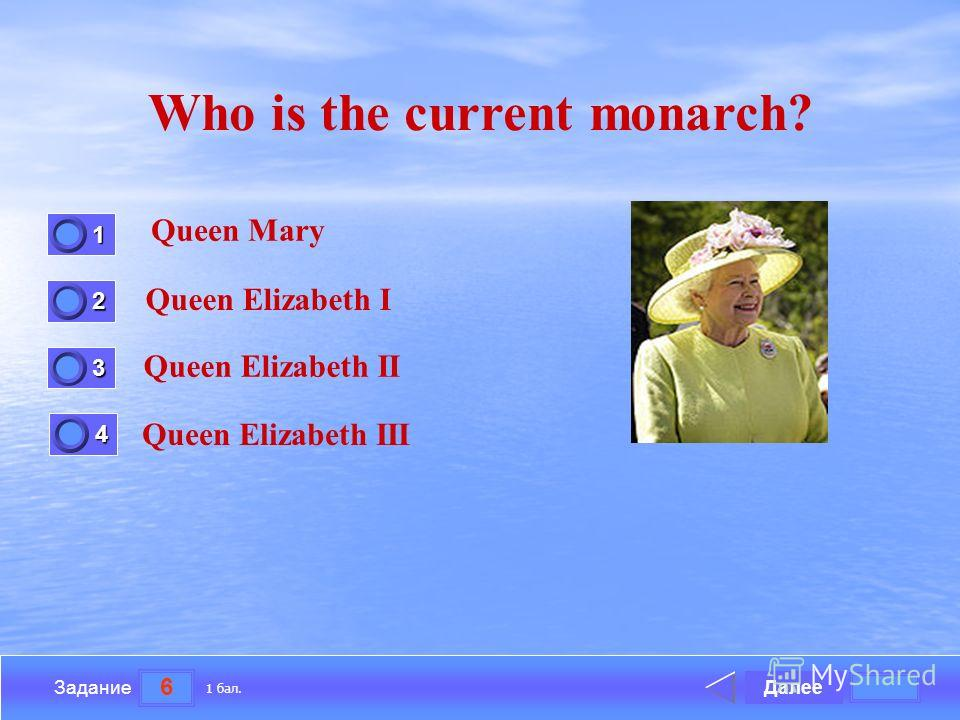 6 Задание Who is the current monarch? Queen Mary Queen Elizabeth I Queen Elizabeth II Queen Elizabeth III Далее 1 бал. 1111 0 2222 0 3333 0 4444 0