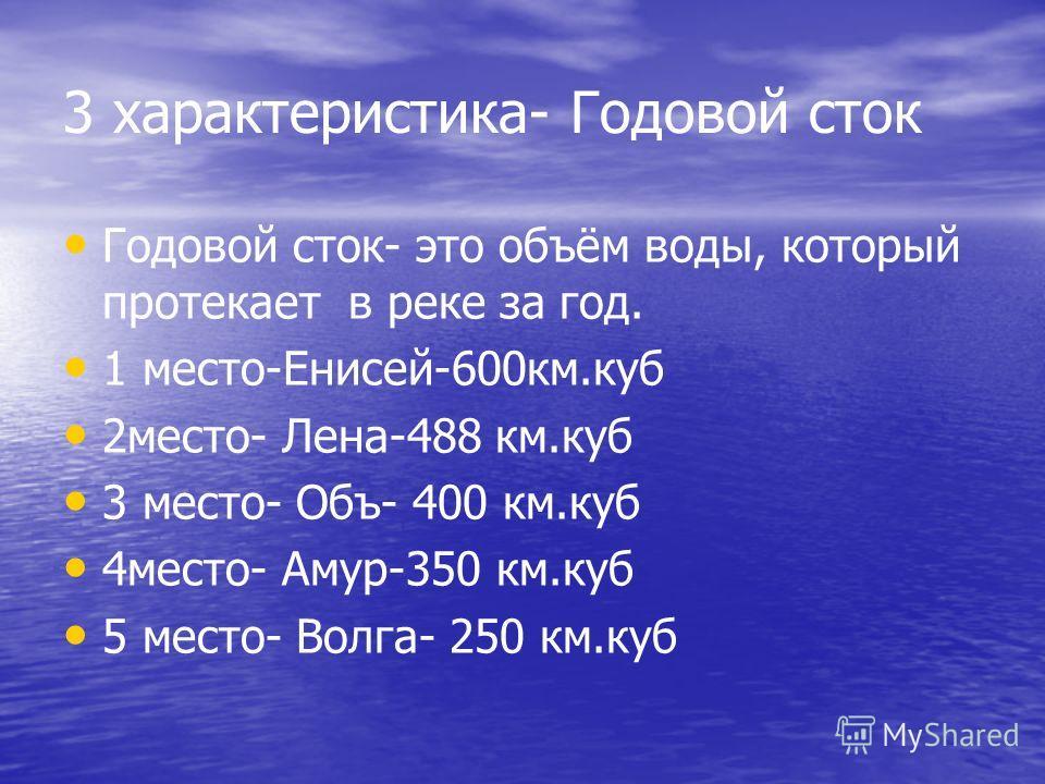 3 характеристика- Годовой сток Годовой сток- это объём воды, который протекает в реке за год. 1 место-Енисей-600км.куб 2место- Лена-488 км.куб 3 место- Объ- 400 км.куб 4место- Амур-350 км.куб 5 место- Волга- 250 км.куб
