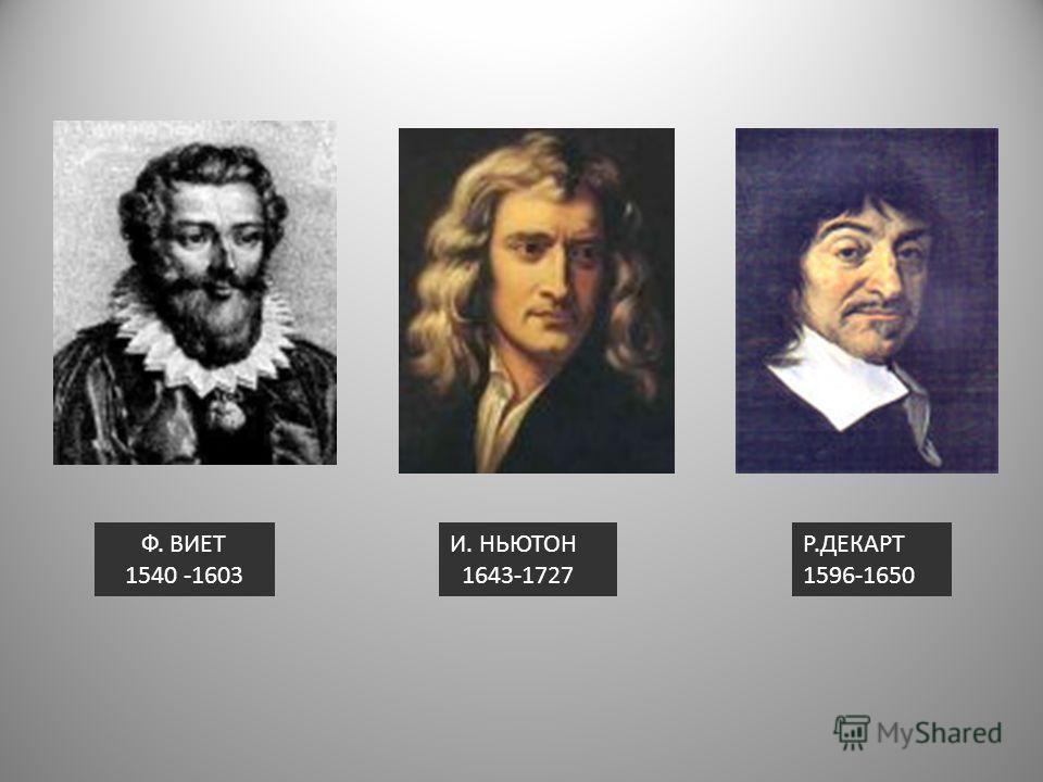 Р.ДЕКАРТ 1596-1650 И. НЬЮТОН 1643-1727 Ф. ВИЕТ 1540 -1603
