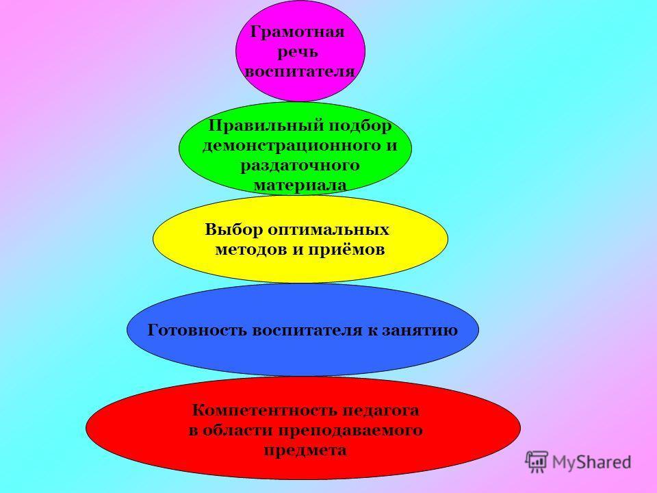 Компетентность педагога в области преподаваемого предмета Готовность воспитателя к занятию Выбор оптимальных методов и приёмов Правильный подбор демонстрационного и раздаточного материала Грамотная речь воспитателя