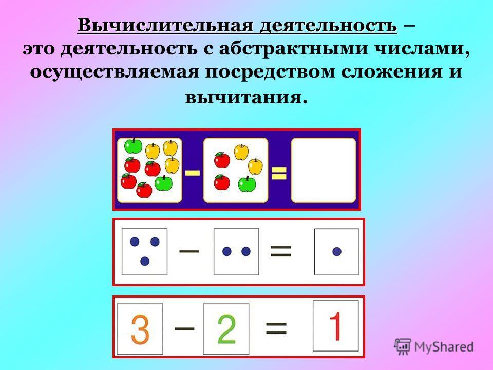 Вычислительная деятельность Вычислительная деятельность – это деятельность с абстрактными числами, осуществляемая посредством сложения и вычитания.