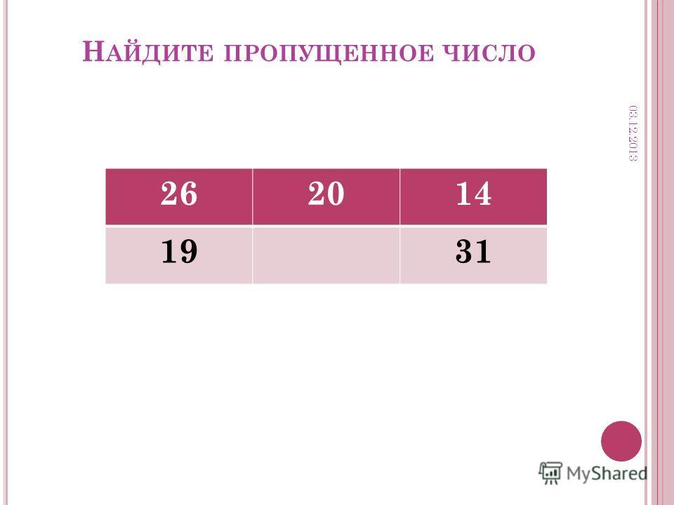Н АЙДИТЕ ПРОПУЩЕННОЕ ЧИСЛО 262014 1931 03.12.2013