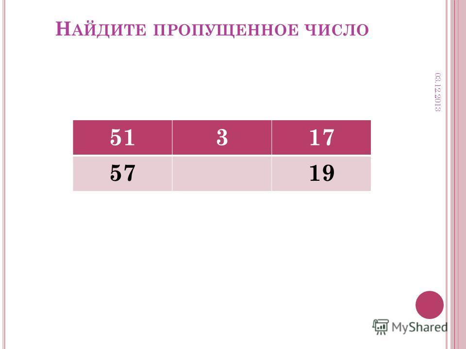 Н АЙДИТЕ ПРОПУЩЕННОЕ ЧИСЛО 51317 5719 03.12.2013