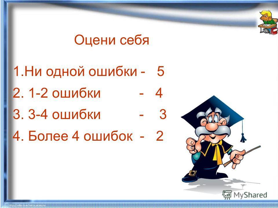 Оцени себя 1.Ни одной ошибки - 5 2. 1-2 ошибки - 4 3. 3-4 ошибки - 3 4. Более 4 ошибок - 2