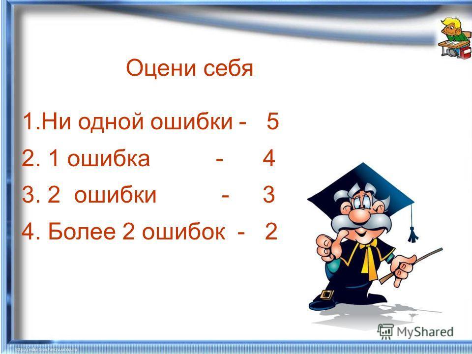 Оцени себя 1.Ни одной ошибки - 5 2. 1 ошибка - 4 3. 2 ошибки - 3 4. Более 2 ошибок - 2