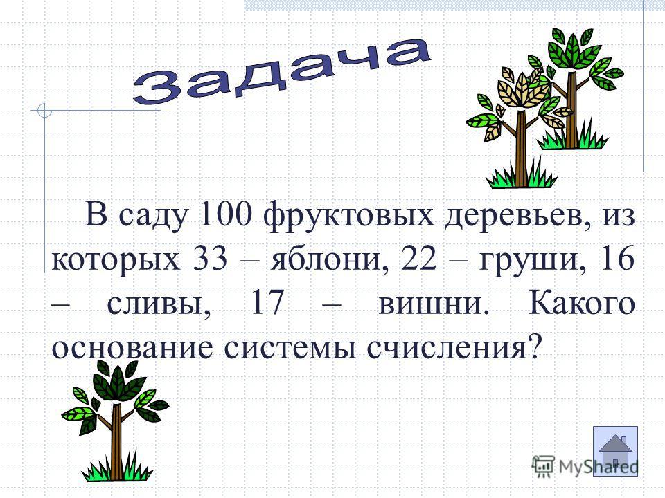 В саду 100 фруктовых деревьев, из которых 33 – яблони, 22 – груши, 16 – сливы, 17 – вишни. Какого основание системы счисления?