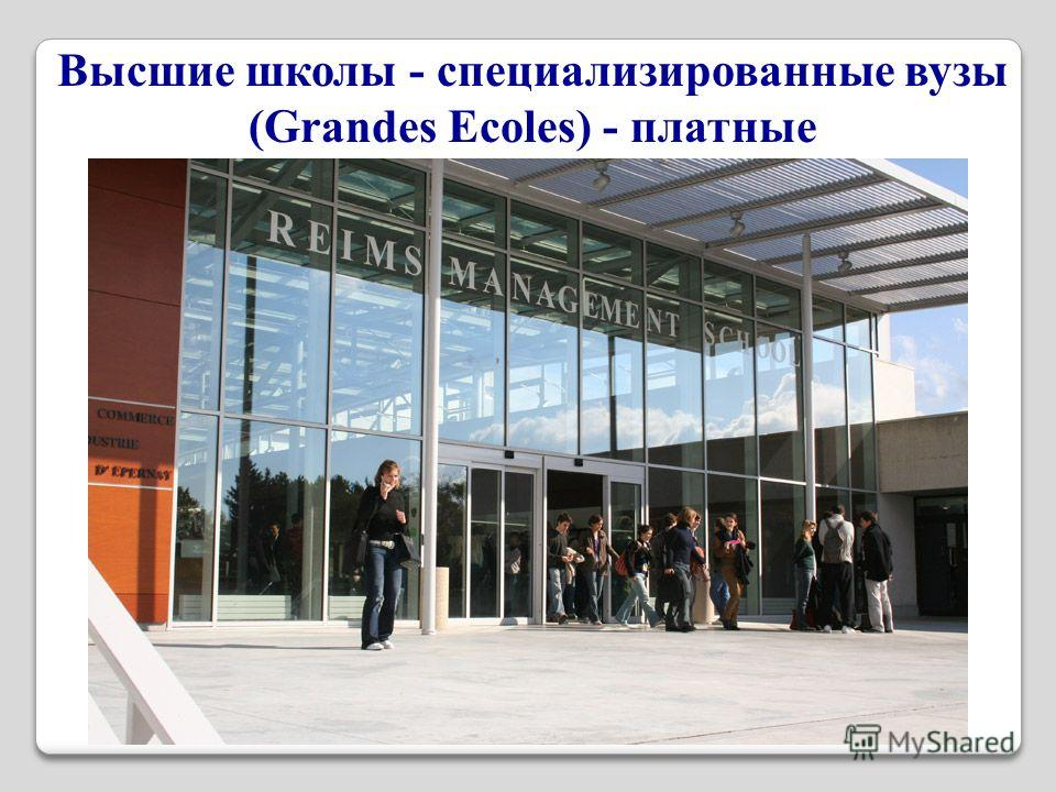 Высшие школы - специализированные вузы (Grandes Ecoles) - платные