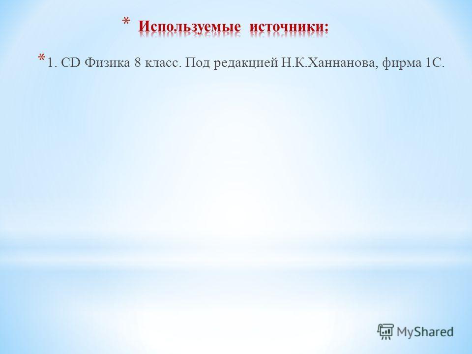 * 1. CD Физика 8 класс. Под редакцией Н.К.Ханнанова, фирма 1С.