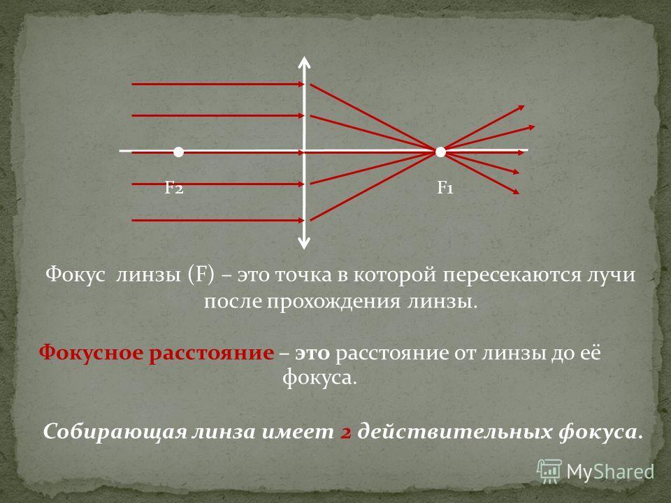 Фокусное расстояние – это расстояние от линзы до её фокуса. F1F2 Фокус линзы (F) – это точка в которой пересекаются лучи после прохождения линзы. Собирающая линза имеет 2 действительных фокуса.