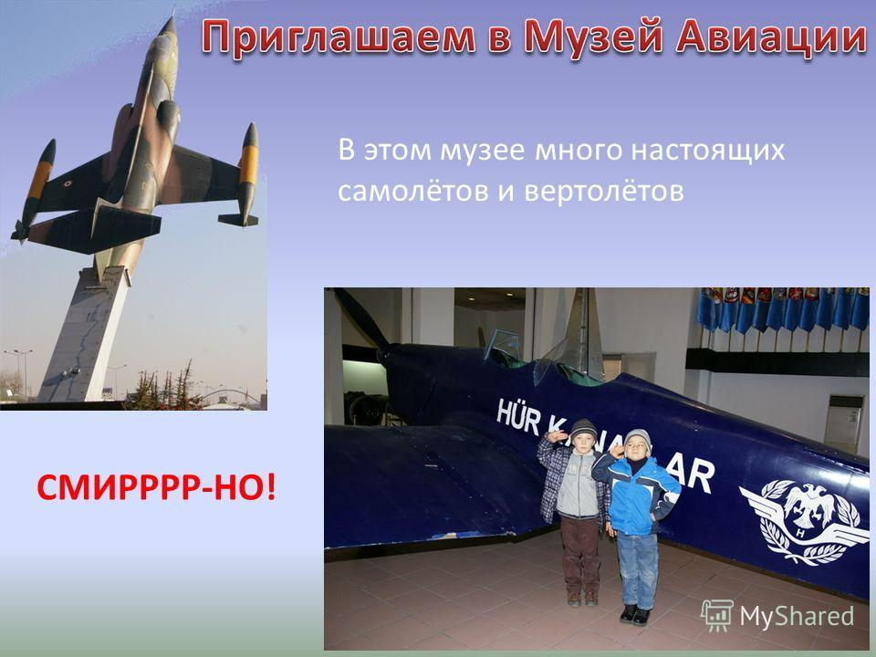 В этом музее много настоящих самолётов и вертолётов СМИРРРР-НО!