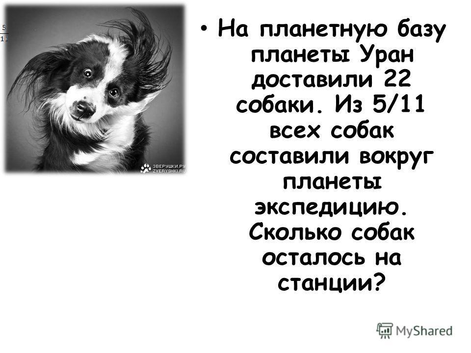На планетную базу планеты Уран доставили 22 собаки. Из 5/11 всех собак составили вокруг планеты экспедицию. Сколько собак осталось на станции?