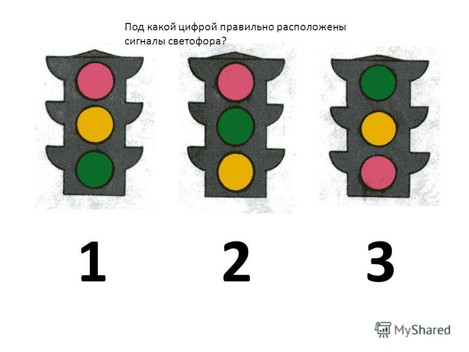123 Под какой цифрой правильно расположены сигналы светофора?