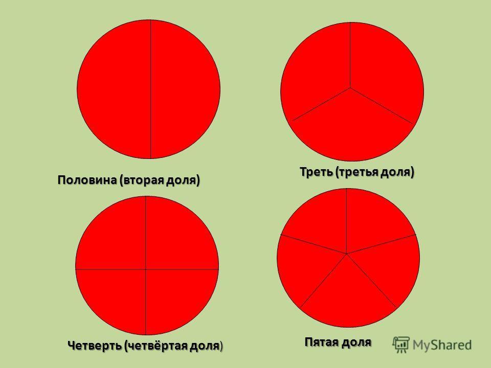 Пятая доля Треть (третья доля) Четверть (четвёртая доля ) Половина (вторая доля)