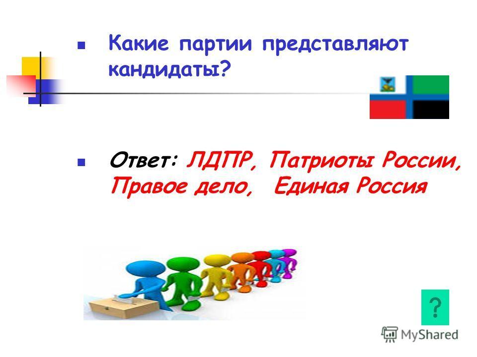 Какие партии представляют кандидаты? Ответ: ЛДПР, Патриоты России, Правое дело, Единая Россия