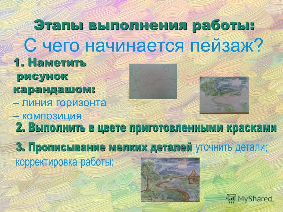 Этапы выполнения работы: С чего начинается пейзаж? 1. Наметить рисунок рисуноккарандашом: – линия горизонта – композиция