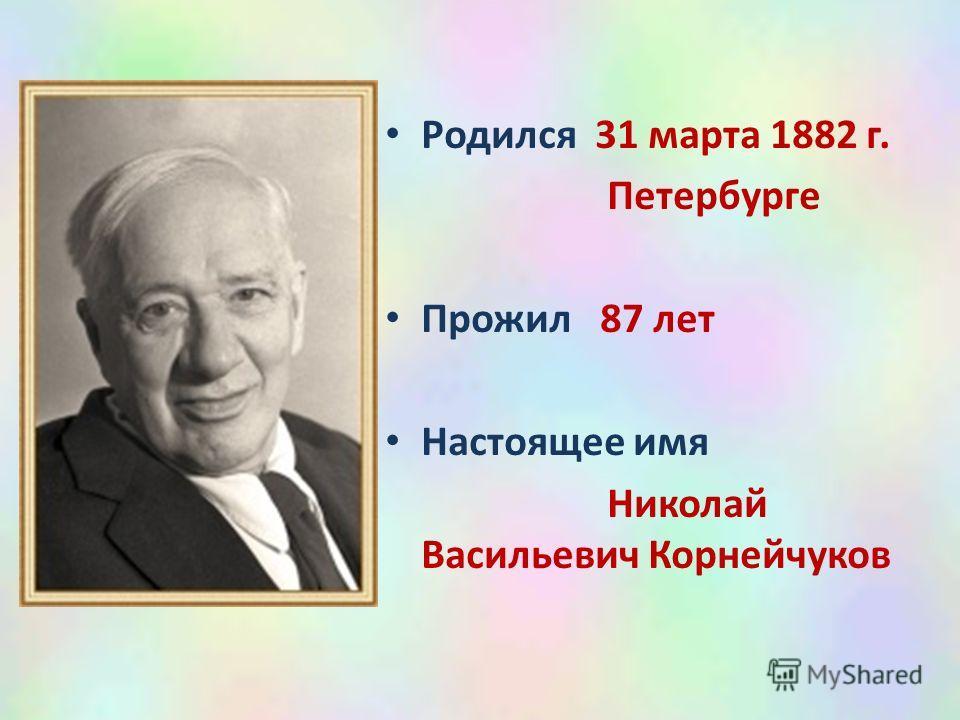 Родился 31 марта 1882 г. Петербурге Прожил 87 лет Настоящее имя Николай Васильевич Корнейчуков