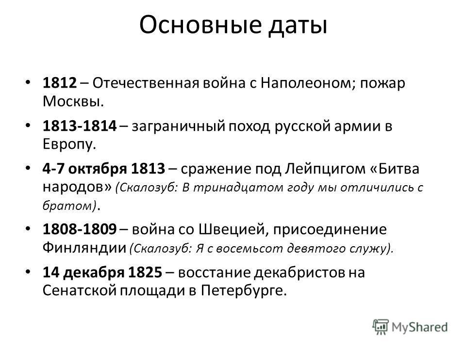 Основные даты 1812 – Отечественная война с Наполеоном; пожар Москвы. 1813-1814 – заграничный поход русской армии в Европу. 4-7 октября 1813 – сражение под Лейпцигом «Битва народов» (Скалозуб: В тринадцатом году мы отличились с братом). 1808-1809 – во