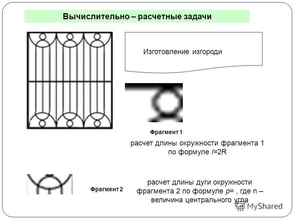 Вычислительно – расчетные задачи Изготовление изгороди Фрагмент 1 Фрагмент 2 расчет длины окружности фрагмента 1 по формуле l=2R расчет длины дуги окружности фрагмента 2 по формуле p=, где n – величина центрального угла