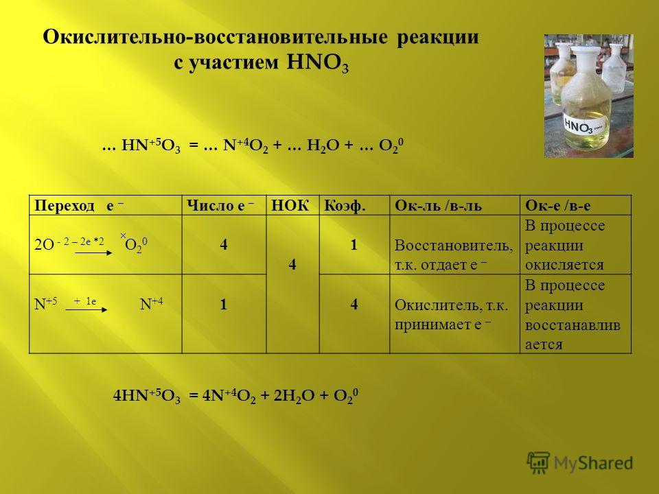 Окислительно-восстановительные реакции с участием HNO 3 Переход е – Число е – НОККоэф.Ок-ль /в-льОк-е /в-е 2O - 2 – 2е *2 O 2 0 4 4 1 Восстановитель, т.к. отдает е – В процессе реакции окисляется N +5 + 1е N +4 1 4 Окислитель, т.к. принимает е – В пр