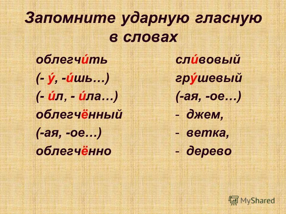 Запомните ударную гласную в словах облегчúть (- ý, -úшь…) (- úл, - úла…) облегчённый (-ая, -ое…) облегчённо слúвовый грýшевый (-ая, -ое…) -джем, -ветка, -дерево