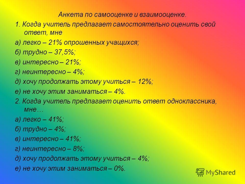 Анкета по самооценке и взаимооценке. 1. Когда учитель предлагает самостоятельно оценить свой ответ, мне а) легко – 21% опрошенных учащихся; б) трудно – 37,5%; в) интересно – 21%; г) неинтересно – 4%; д) хочу продолжать этому учиться – 12%; е) не хочу