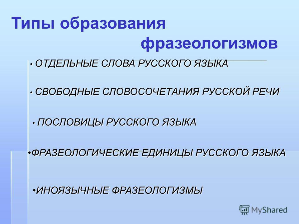 Типы образования фразеологизмов ОТДЕЛЬНЫЕ СЛОВА РУССКОГО ЯЗЫКА ОТДЕЛЬНЫЕ СЛОВА РУССКОГО ЯЗЫКА СВОБОДНЫЕ СЛОВОСОЧЕТАНИЯ РУССКОЙ РЕЧИ СВОБОДНЫЕ СЛОВОСОЧЕТАНИЯ РУССКОЙ РЕЧИ ПОСЛОВИЦЫ РУССКОГО ЯЗЫКА ПОСЛОВИЦЫ РУССКОГО ЯЗЫКА ФРАЗЕОЛОГИЧЕСКИЕ ЕДИНИЦЫ РУССК