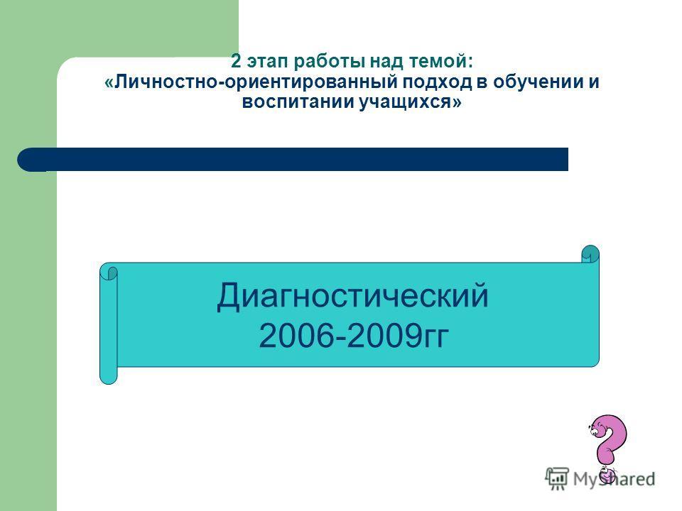 2 этап работы над темой: «Личностно-ориентированный подход в обучении и воспитании учащихся» Диагностический 2006-2009гг