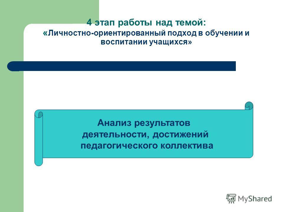 4 этап работы над темой: « Личностно-ориентированный подход в обучении и воспитании учащихся» Анализ результатов деятельности, достижений педагогического коллектива