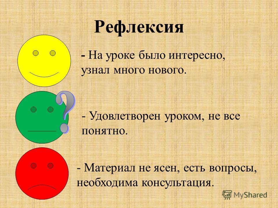Рефлексия - На уроке было интересно, узнал много нового. - Удовлетворен уроком, не все понятно. - Материал не ясен, есть вопросы, необходима консультация.