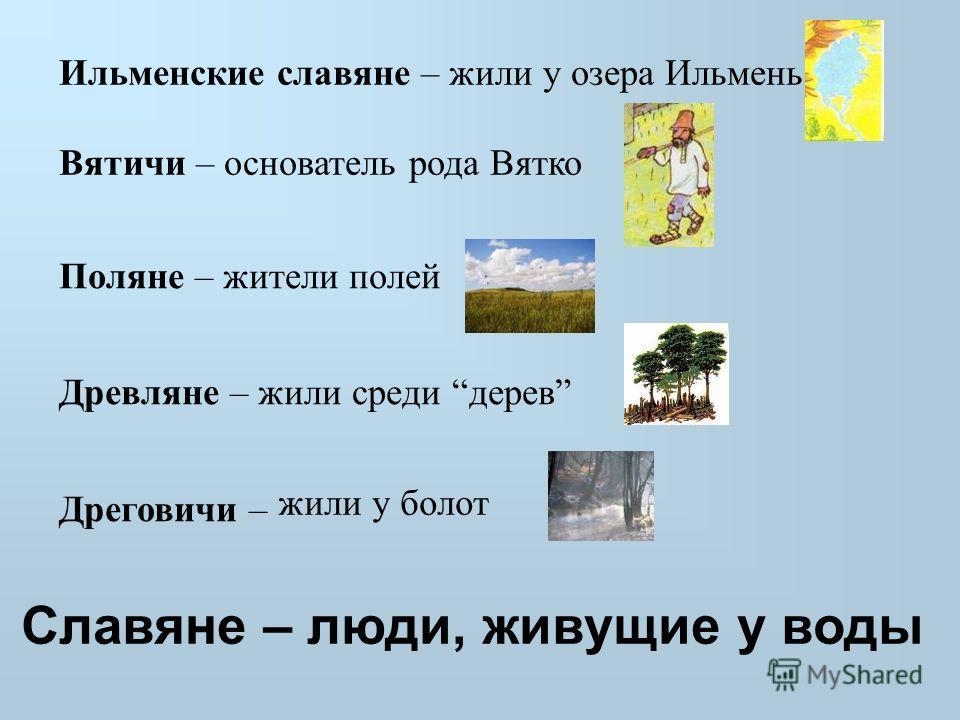 Поляне – жители полей Древляне – жили среди дерев Дреговичи – Ильменские славяне – жили у озера Ильмень Вятичи – основатель рода Вятко жили у болот Славяне – люди, живущие у воды