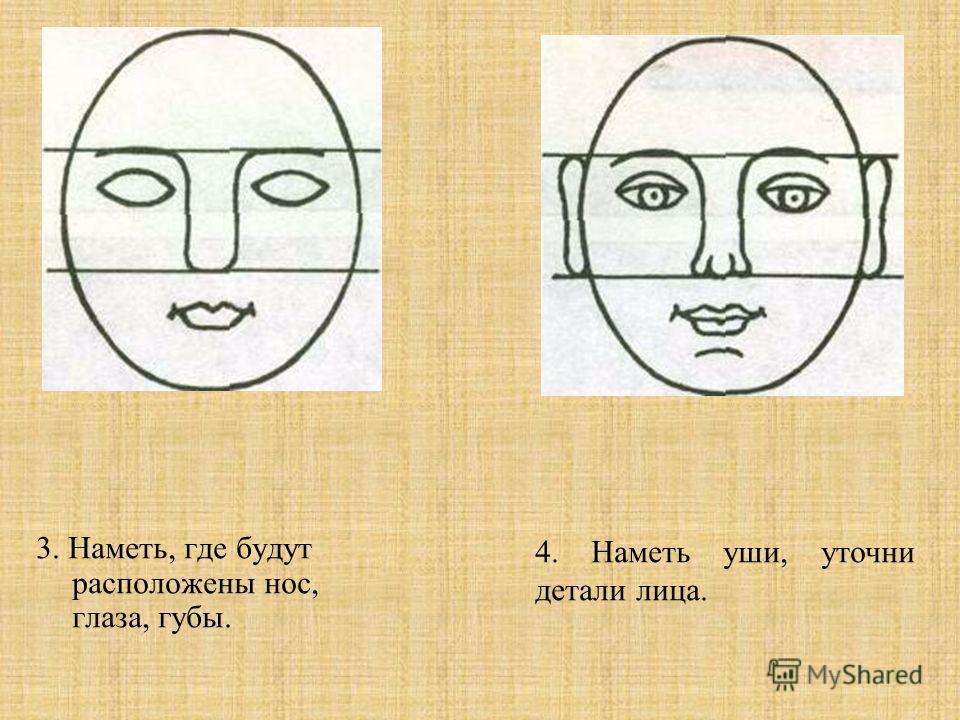 3. Наметь, где будут расположены нос, глаза, губы. 4. Наметь уши, уточни детали лица.