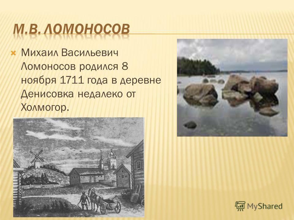 Михаил Васильевич Ломоносов родился 8 ноября 1711 года в деревне Денисовка недалеко от Холмогор.