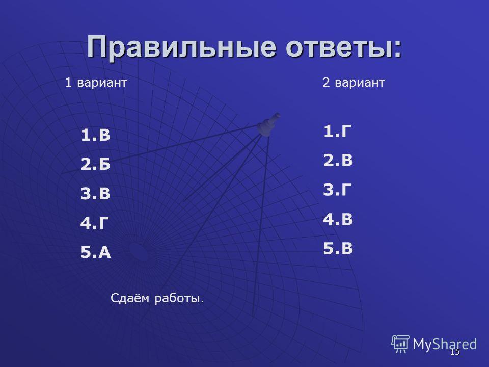 15 Правильные ответы: 1 вариант2 вариант 1.Г 2.В 3.Г 4.В 5.В 1.В 2.Б 3.В 4.Г 5.А Сдаём работы.