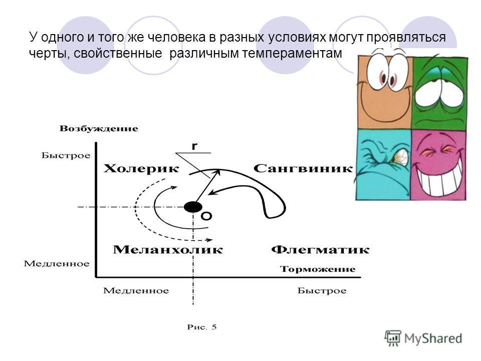 У одного и того же человека в разных условиях могут проявляться черты, свойственные различным темпераментам