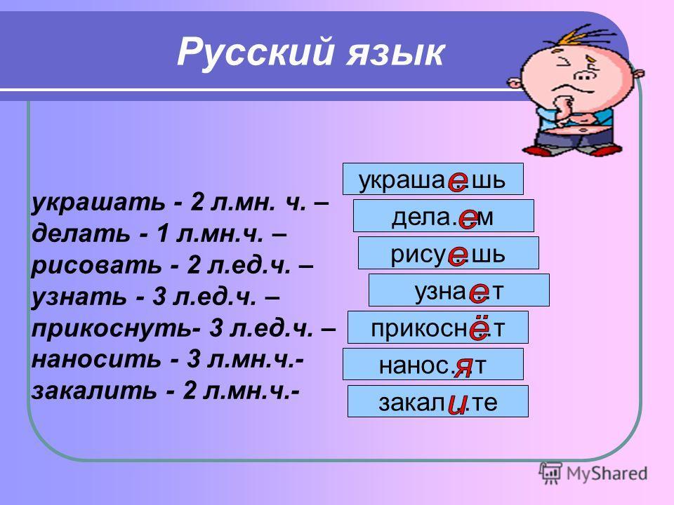 Русский язык украшать - 2 л.мн. ч. – делать - 1 л.мн.ч. – рисовать - 2 л.ед.ч. – узнать - 3 л.ед.ч. – прикоснуть- 3 л.ед.ч. – наносить - 3 л.мн.ч.- закалить - 2 л.мн.ч.- украша…шь дела…м рису…шь узна…т прикосн…т нанос…т закал…те