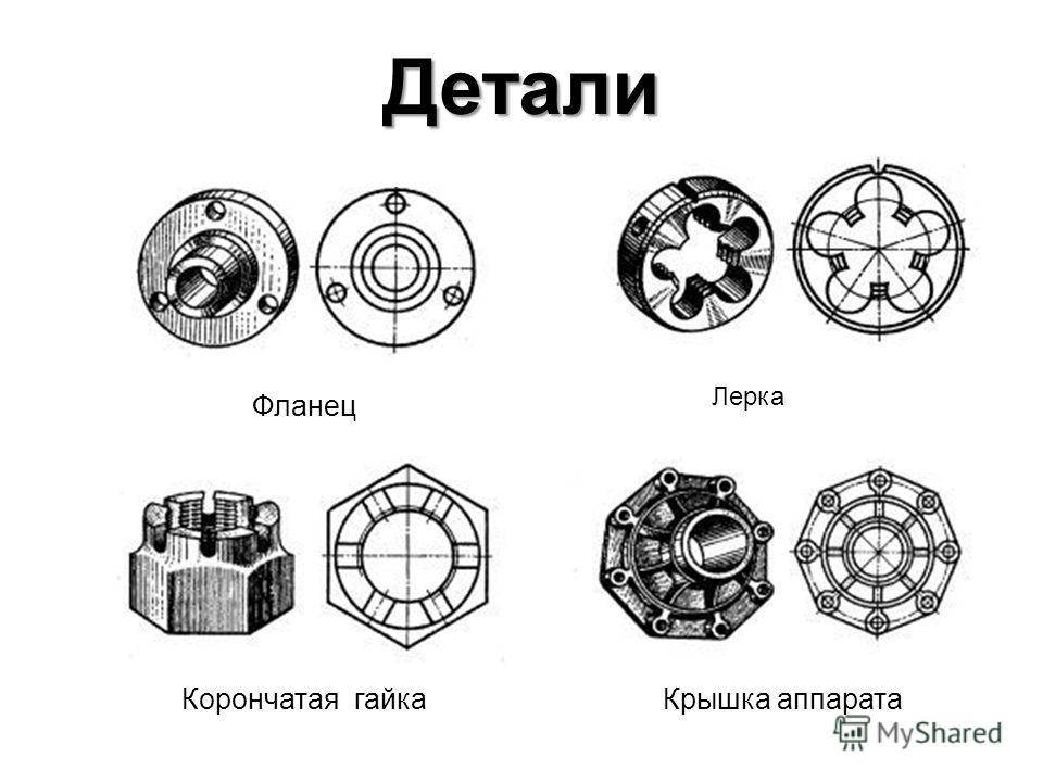 Детали Фланец Лерка Корончатая гайкаКрышка аппарата