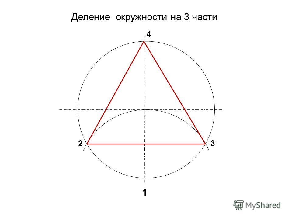 Деление окружности на 3 части 1 23 4