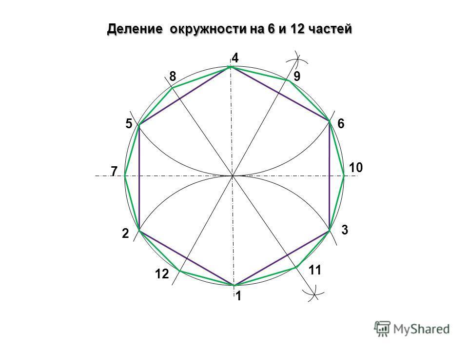 Деление окружности на 6 и 12 частей 1 3 2 4 56 7 89 10 11 12