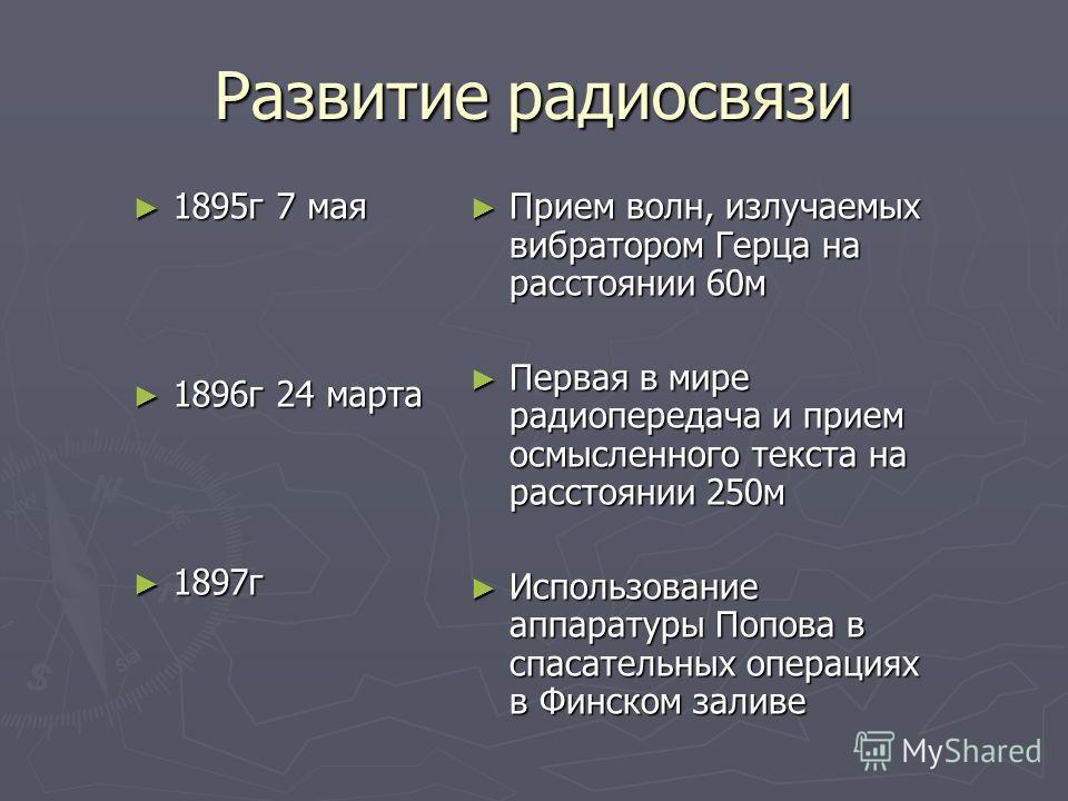 Развитие радиосвязи 1895г 7 мая 1895г 7 мая 1896г 24 марта 1896г 24 марта 1897г 1897г Прием волн, излучаемых вибратором Герца на расстоянии 60м Первая в мире радиопередача и прием осмысленного текста на расстоянии 250м Использование аппаратуры Попова