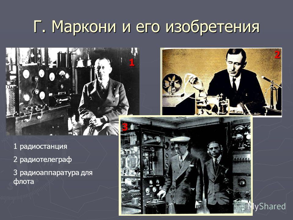 Г. Маркони и его изобретения 1 радиостанция 2 радиотелеграф 3 радиоаппаратура для флота 1 2 3