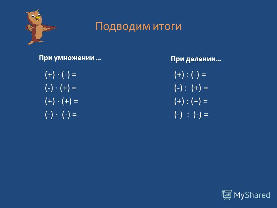 Подводим итоги При умножении … (+) (-) = (-) (+) = (+) (+) = (-) (-) = При делении… (+) : (-) = (-) : (+) = (+) : (+) = (-) : (-) =