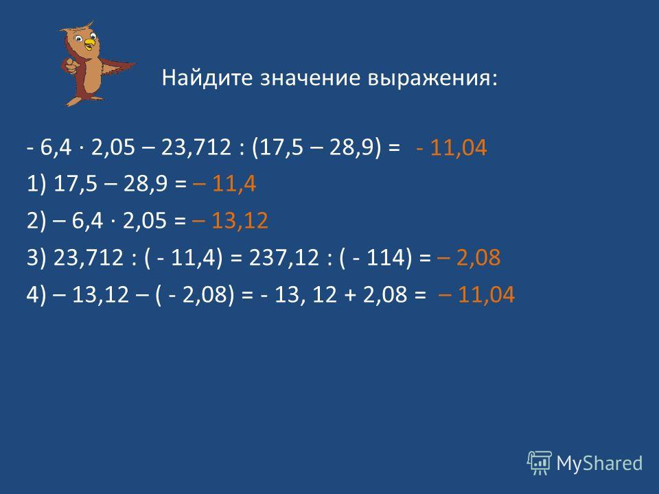 Найдите значение выражения: - 6,4 2,05 – 23,712 : (17,5 – 28,9) = 1) 17,5 – 28,9 = – 11,4 2) – 6,4 2,05 = – 13,12 3) 23,712 : ( - 11,4) = 237,12 : ( - 114) = – 2,08 4) – 13,12 – ( - 2,08) = - 13, 12 + 2,08 = – 11,04 - 11,04