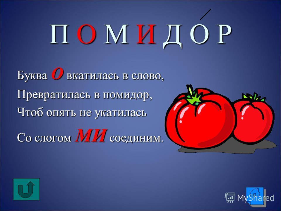 П О М И Д О Р Буква О вкатилась в слово, Превратилась в помидор, Чтоб опять не укатилась Со слогом МИ соединим.