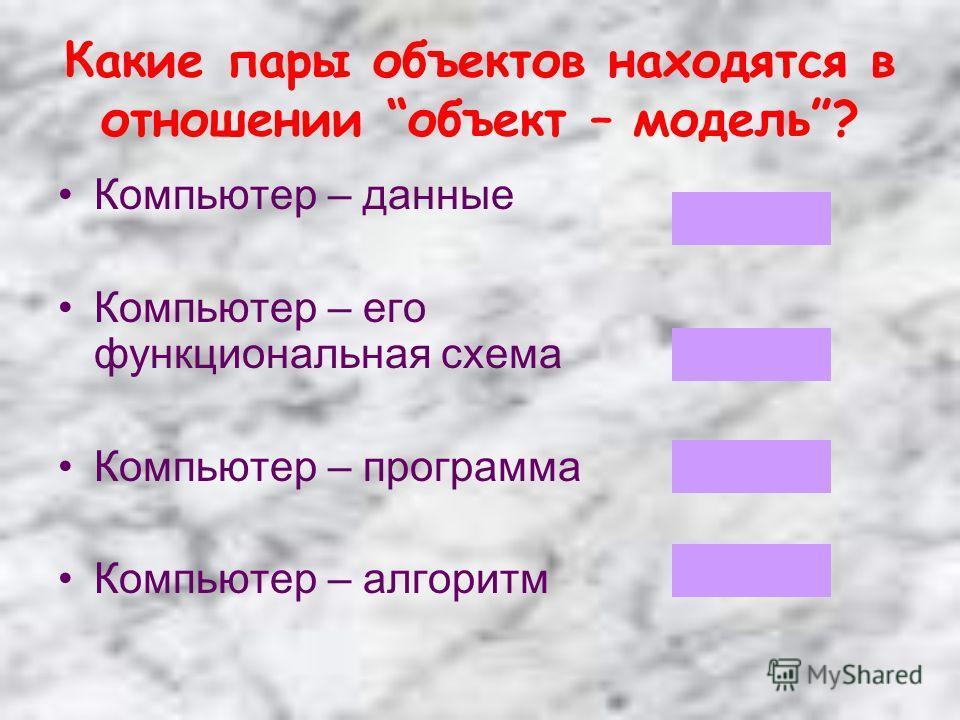 Какие пары объектов находятся в отношении объект – модель? Компьютер – данные Компьютер – его функциональная схема Компьютер – программа Компьютер – алгоритм