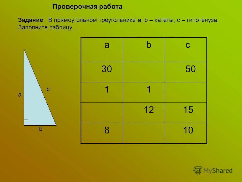 Проверочная работа Задание. В прямоугольном треугольнике a, b – катеты, с – гипотенуза. Заполните таблицу. a b c a b c 30 50 1 1 12 15 8 10