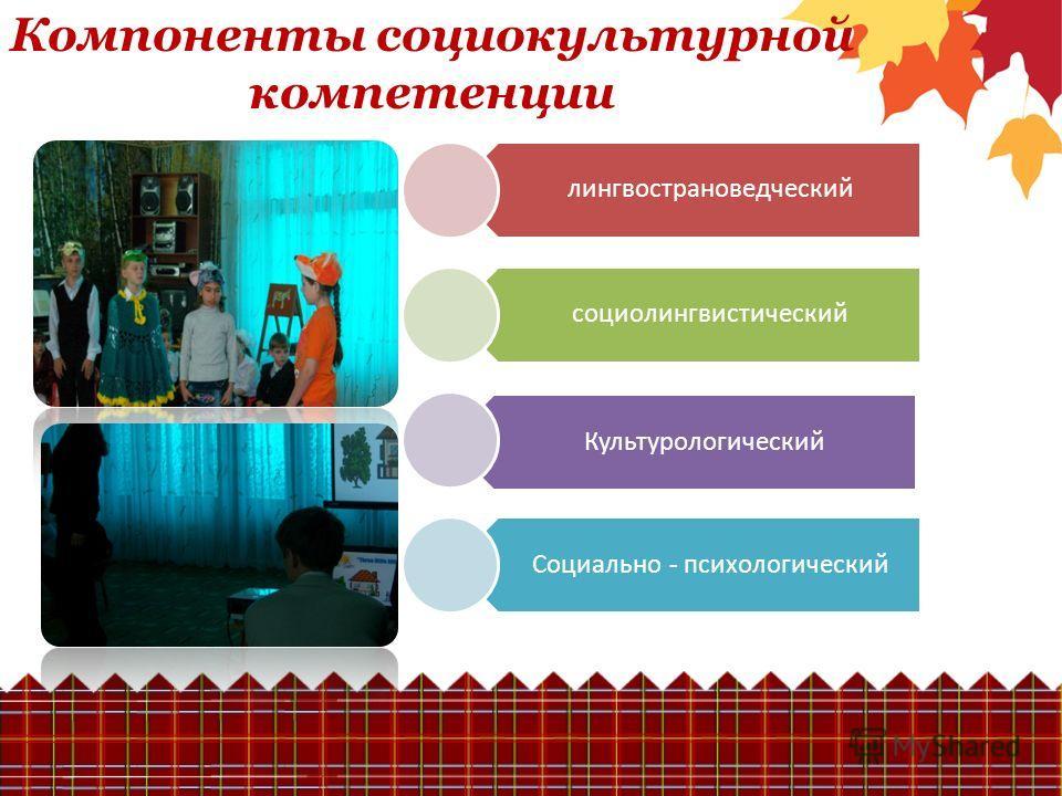 Компоненты социокультурной компетенции лингвострановедческий социолингвистический Культурологический Социально - психологический