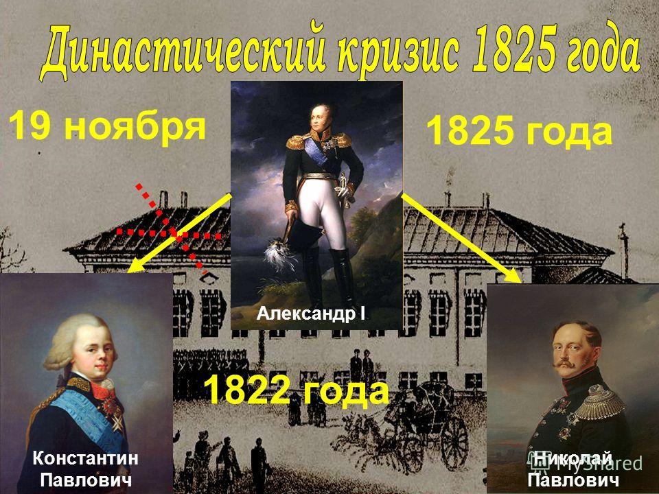 Александр I 19 ноября 1825 года Константин Павлович 1822 года Николай Павлович