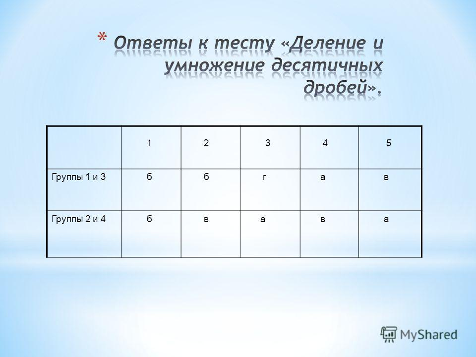 * 1.Выполните деление : 5,339: 0,001. а) 533,9 ; б) 5339 ; в) 0,0053339; г) другой ответ. * 2.Выполните деление: 1,247:2,9. а) 4,3; б) 0,43; в) 4,3; г) другой ответ. * 3.Решите уравнение: 12 · х=2,4. а) 5; б) 0,25; в) 50; г) другой ответ. * 4.Длина к