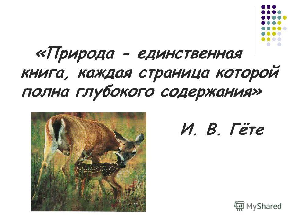 «Природа - единственная книга, каждая страница которой полна глубокого содержания» И. В. Гёте