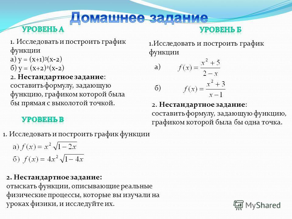 1. Исследовать и построить график функции а) у = (х+1) 3 (х-2) б) у = (х+2) 2 (х-2) 2. Нестандартное задание: составить формулу, задающую функцию, графиком которой была бы прямая с выколотой точкой. б) 1.Исследовать и построить график функции а) 2. Н